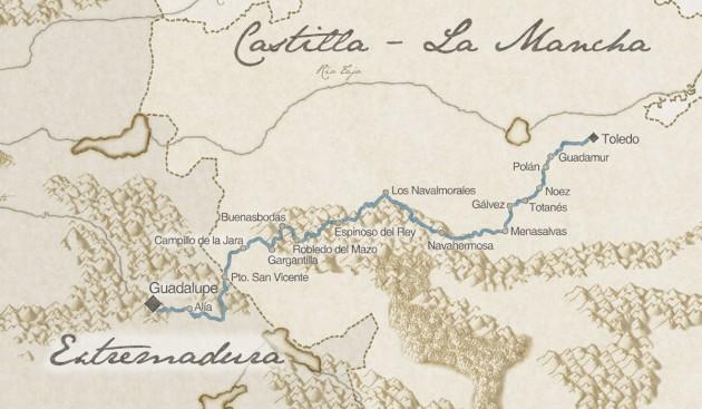 Mapa del Camino de los Montes de Toledo